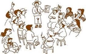 grupo de personas hablando de sus costumbres y cosas que hacen hace mucho tiempo que representa el derecho consuetudinario